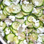 this sauteed zucchini with feta is a quick and delicious side dish that pairs great with anything! Recipe via firsthomelovelife.com