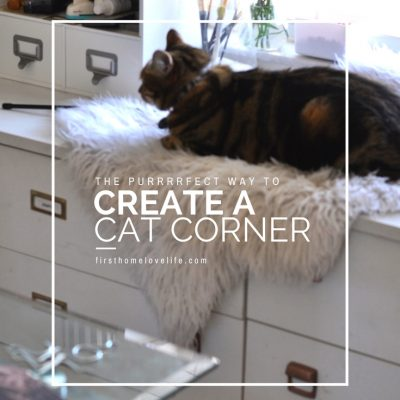 home office sneak peek with cozy cat corner | cat window perch ideas via firsthomelovelife.com