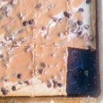 Easy to make chocolate chip peanut butter bars with PB glaze